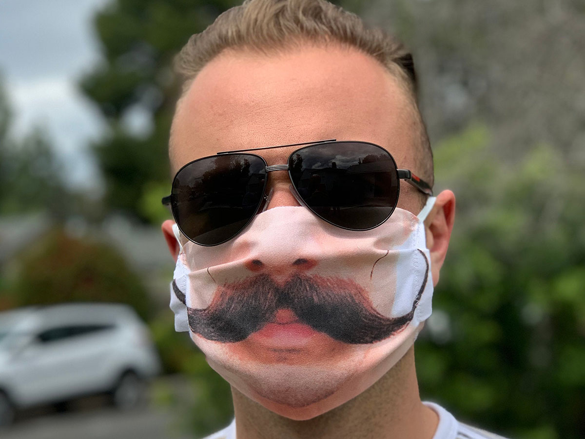 This mask that won't hide your 'stache