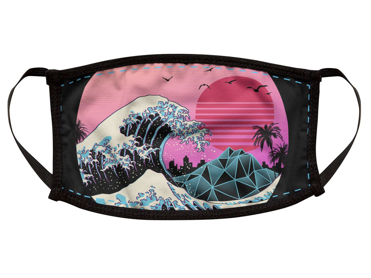 This sick, wave-themed face mask in the Outrun aesthetic🌊